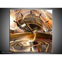 Wandklok op Canvas Abstract   Kleur: Goud, Wit, Bruin   F001702C