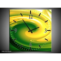 Wandklok op Canvas Abstract | Kleur: Geel, Groen | F001703C