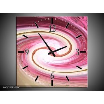 Wandklok op Canvas Abstract   Kleur: Rood, Wit   F001706C