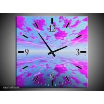 Wandklok op Canvas Abstract | Kleur: Paars, Grijs | F001718C