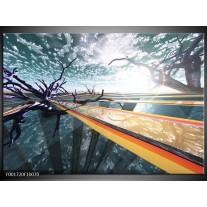 Glas schilderij Abstract | Geel, Grijs, Blauw
