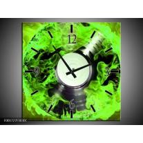 Wandklok op Canvas Muziek | Kleur: Groen, Zwart | F001727C