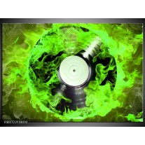 Glas schilderij Muziek   Groen, Zwart