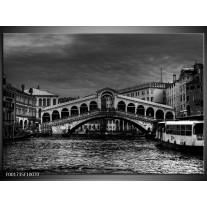 Glas schilderij Venetië | Grijs, Zwart, Wit
