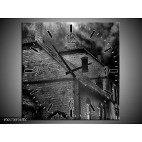 Wandklok op Canvas Gebouw   Kleur: Grijs, Zwart, Wit   F001736C