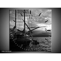 Wandklok op Canvas Boot   Kleur: Grijs, Zwart, Wit   F001739C