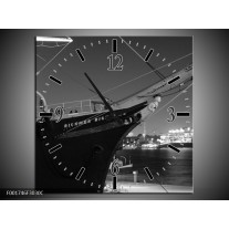 Wandklok op Canvas Boot | Kleur: Grijs, Zwart, Wit | F001746C