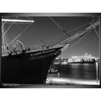 Glas schilderij Boot | Grijs, Zwart, Wit