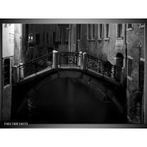 Foto canvas schilderij Brug | Grijs, Zwart, Wit