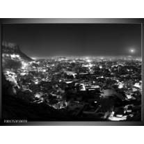 Foto canvas schilderij Uitzicht | Grijs, Zwart, Wit