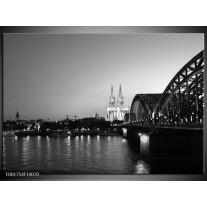 Glas schilderij Brug | Grijs, Zwart, Wit