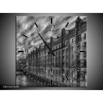 Wandklok op Canvas Gebouw | Kleur: Grijs, Zwart, Wit | F001761C