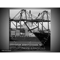 Wandklok op Canvas Boot | Kleur: Grijs, Zwart, Wit | F001763C