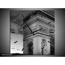 Wandklok op Canvas Parijs | Kleur: Grijs, Zwart, Wit | F001765C