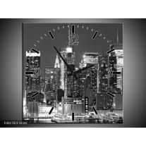 Wandklok op Canvas New York | Kleur: Grijs, Zwart, Wit | F001782C