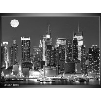 Glas schilderij New York | Grijs, Zwart, Wit