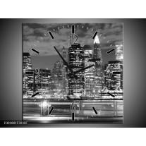 Wandklok op Canvas New York | Kleur: Grijs, Zwart, Wit | F001801C
