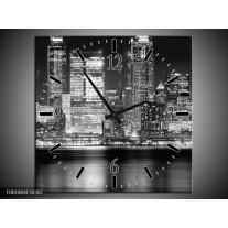 Wandklok op Canvas New York | Kleur: Grijs, Zwart, Wit | F001804C