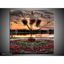 Wandklok op Canvas Bloemen | Kleur: Rood, Zwart, Geel | F001811C