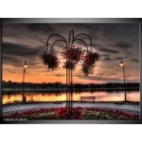 Foto canvas schilderij Bloemen | Rood, Zwart, Geel