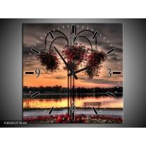 Wandklok op Canvas Bloemen | Kleur: Rood, Zwart, Geel | F001812C