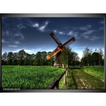 Foto canvas schilderij Molen | Groen, Blauw, Bruin