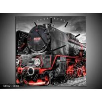 Wandklok op Canvas Trein | Kleur: Zwart, Rood, Wit | F001821C