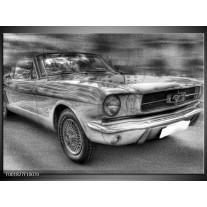 Glas schilderij Mustang | Zwart, Wit, Grijs