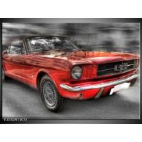 Glas schilderij Mustang | Rood, Zwart