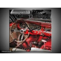 Wandklok op Canvas Mustang | Kleur: Rood, Zwart | F001829C