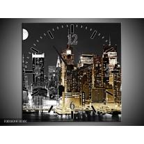 Wandklok op Canvas New York | Kleur: Zwart, Wit, Geel | F001839C