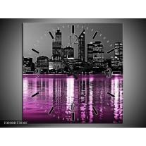 Wandklok op Canvas New York   Kleur: Zwart, Wit, Paars   F001841C