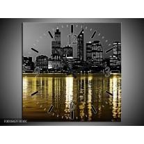 Wandklok op Canvas New York | Kleur: Zwart, Wit, Geel | F001842C