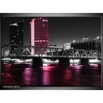 Foto canvas schilderij Brug | Zwart, Wit, Roze