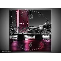 Wandklok op Canvas Brug | Kleur: Zwart, Wit, Roze | F001844C