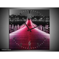 Wandklok op Canvas Brug | Kleur: Roze, Zwart | F001847C