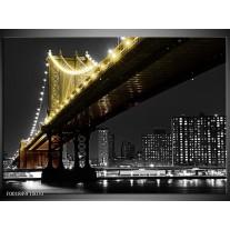 Glas schilderij Brug | Zwart, Wit, Geel