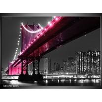 Glas schilderij Brug | Zwart, Wit, Roze