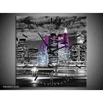 Wandklok op Canvas New York | Kleur: Zwart, Wit, Paars | F001856C