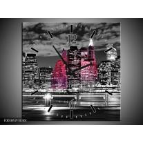Wandklok op Canvas New York | Kleur: Zwart, Wit, Roze | F001857C
