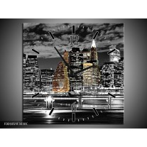 Wandklok op Canvas New York   Kleur: Zwart, Wit, Geel   F001859C
