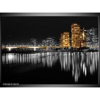 Foto canvas schilderij New York | Zwart, Wit, Geel