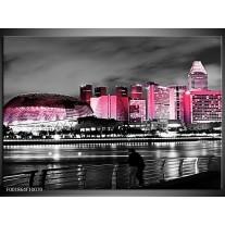 Foto canvas schilderij Stad | Zwart, Wit, Roze