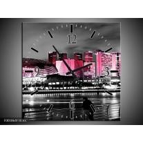 Wandklok op Canvas Stad | Kleur: Zwart, Wit, Roze | F001864C