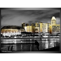 Foto canvas schilderij Stad   Zwart, Wit, Geel