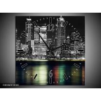 Wandklok op Canvas New York | Kleur: Zwart, Wit, Geel | F001869C