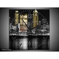 Wandklok op Canvas New York | Kleur: Zwart, Wit, Geel | F001871C
