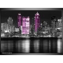 Foto canvas schilderij New York | Zwart, Wit, Paars