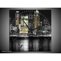 Wandklok op Canvas New York | Kleur: Zwart, Wit, Geel | F001873C