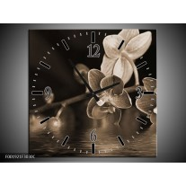 Wandklok op Canvas Orchidee   Kleur: Sepia, Bruin   F001921C